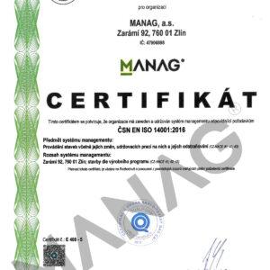 CERTIFIKAT CSN EN ISO 14001-2016