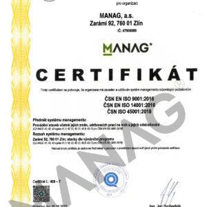 CERTIFIKAT CSN EN ISO 2016-2018