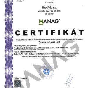 CERTIFIKAT CSN EN ISO 9001-2016