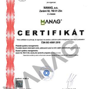 CERTIFIKAT CSN ISO 45001-2018